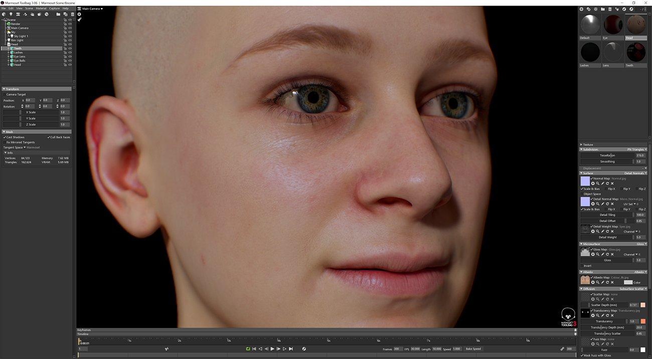 Female 3D model / Retopologised Head Scan 03