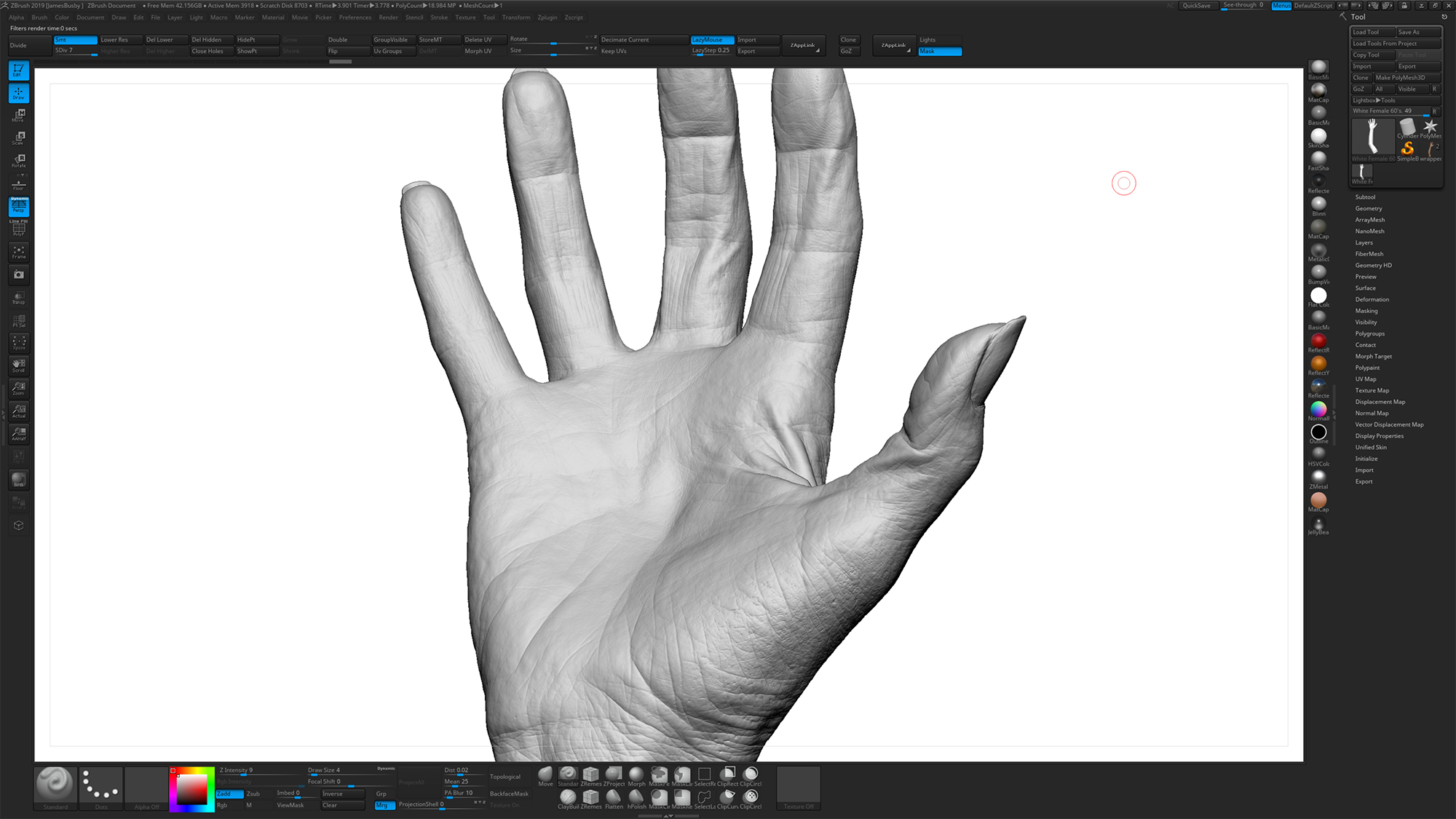 Zbrush Hand Sculpting