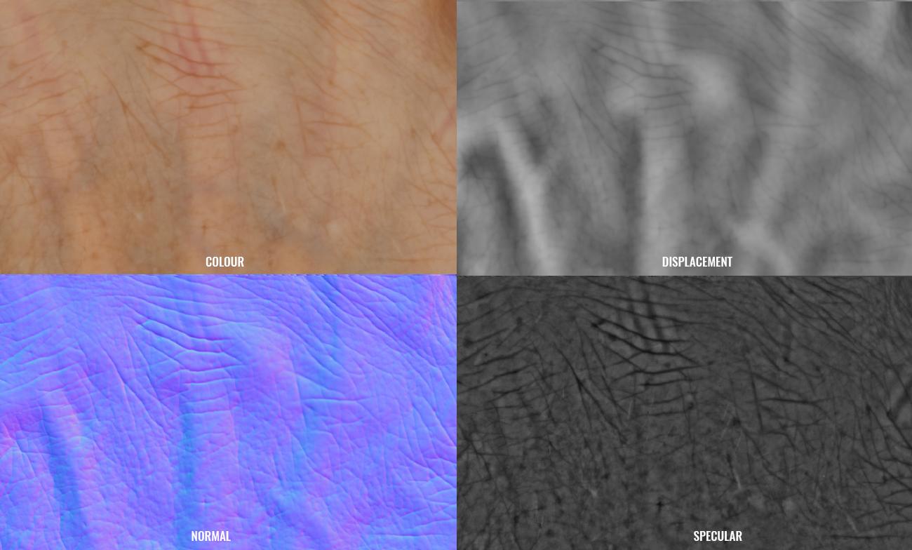 Hand textures, normal map, displacement, spec maps