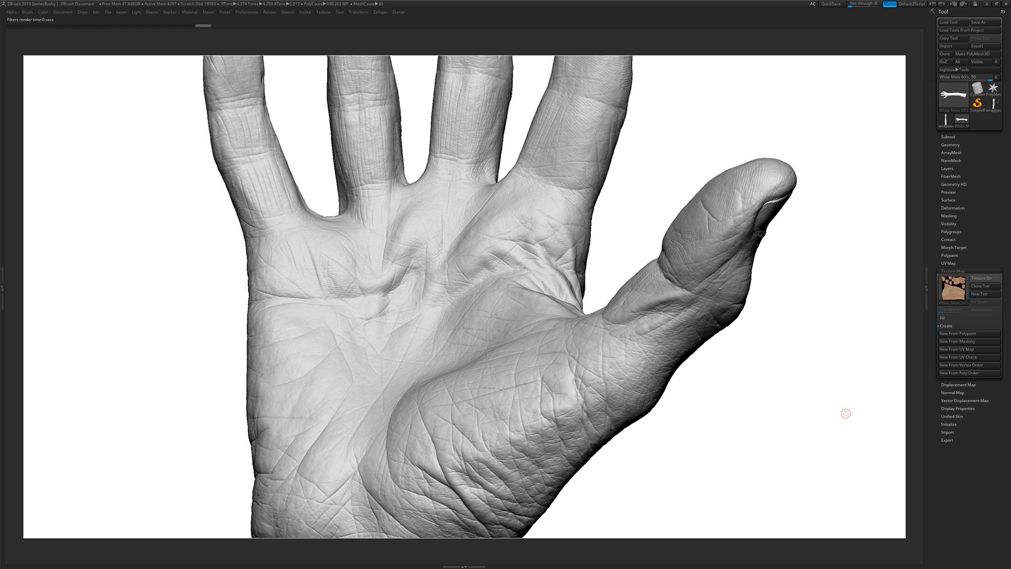 Zbrush 3D hand wrinkles