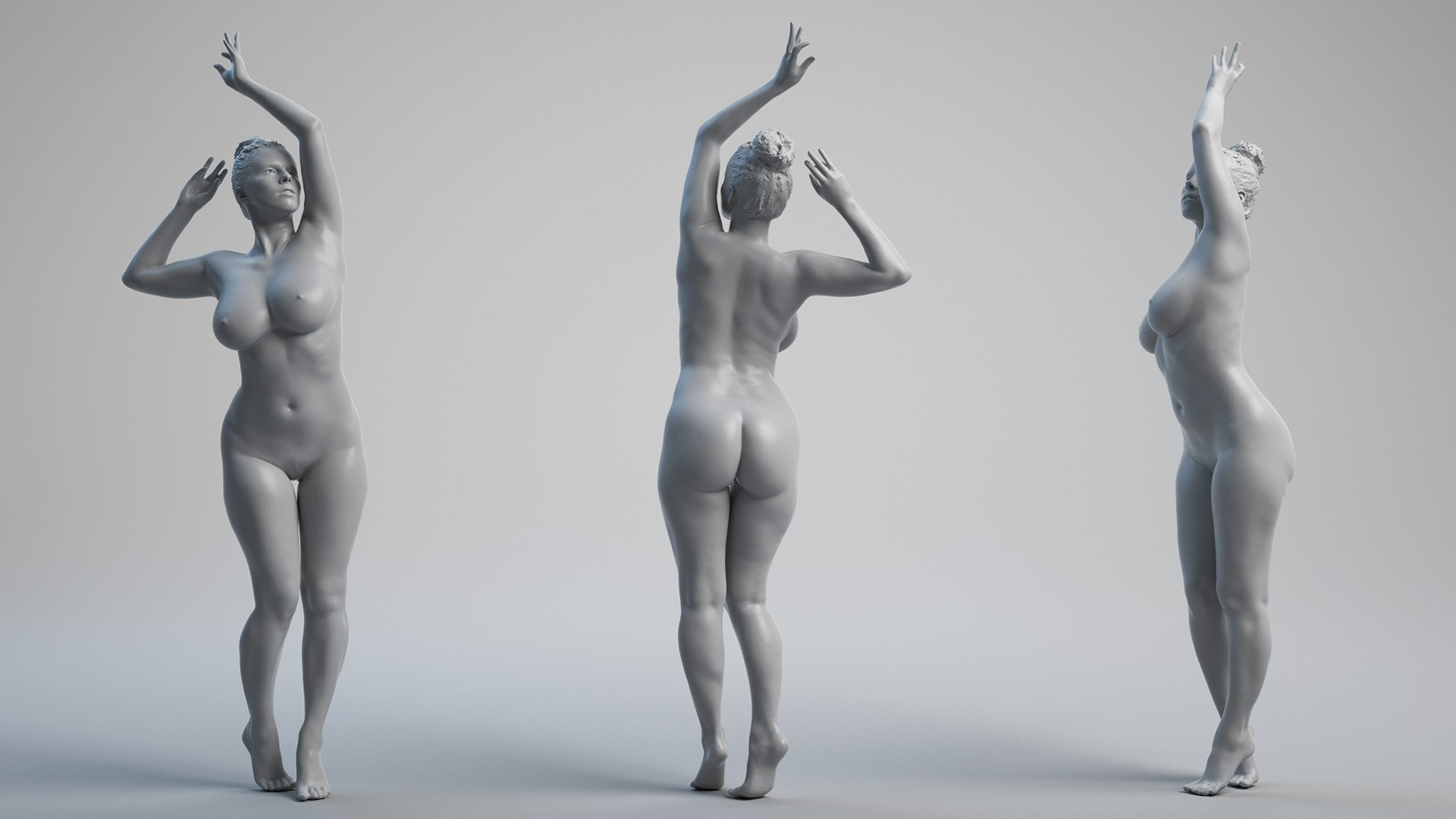 Naked female using caret